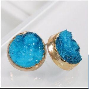 Druzy blue post earrings